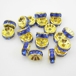 NEW-jewelry-100pcs-8MM-Plated-gold-crystal-spacer-beads-Blue