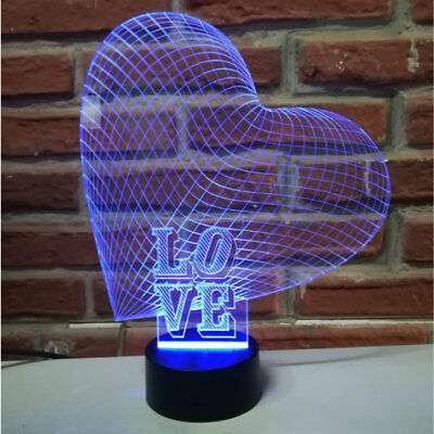 Regalo San Valentino personalizzato cuore lampada incisone su plexiglass USB LED