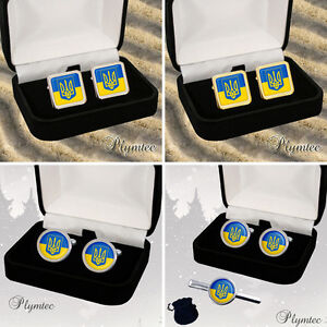 UKRAINE-UKRAINIAN-FLAG-COAT-OF-ARMS-MENS-CUFFLINKS-GIFT