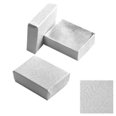 100 Swirl White Cotton Filled Jewelry Packaging Gift Boxes Earring Ring Pin
