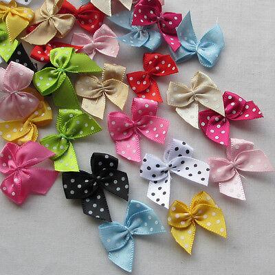Dot Flowers (E229 60pcs Dot Satin Ribbon Flowers Bows Gift Craft Wedding Decoration Upick)