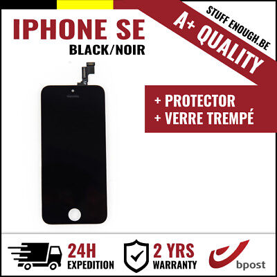 A+ LCD TOUCH SCREEN SCHERM ÉCRAN BLACK NOIR & VERRE TREMPÉ FOR IPHONE SE/5S