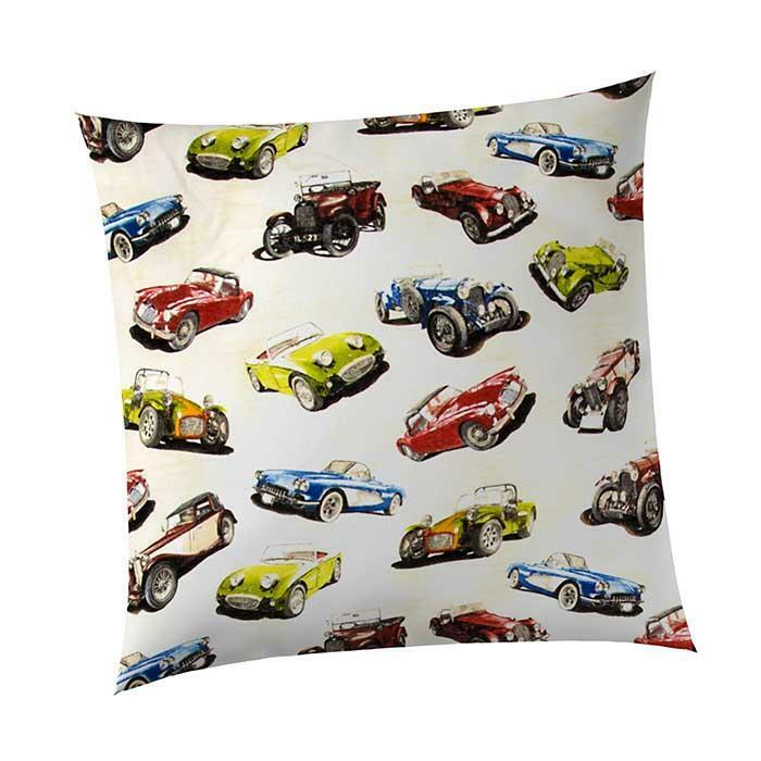 GLENNA JEAN FAST TRACK COTTON THROW PILLOW RETRO VINTAGE RACE CAR