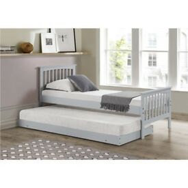 Oxford Single Guest Bed in Light Grey - Trundle Bed Included