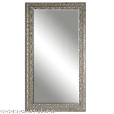 Full Length Silver Beaded Frame Mirror | Wall Floor Leaner