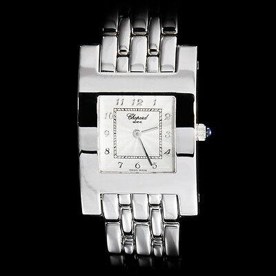Chopard 18K White Gold Ladies Classique Special H Bracelet Watch. 110 grams. Stu