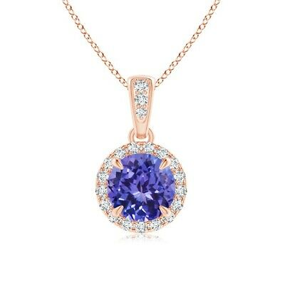 1ct round tanzanite diamond pendant with 18