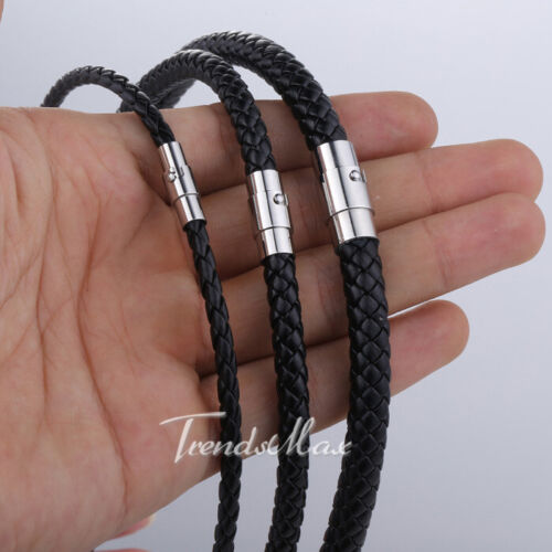 Jewellery - 4/6/8MM Black Braided Cord Rope Man-made Leather Necklace w/ Magnetic Clasp