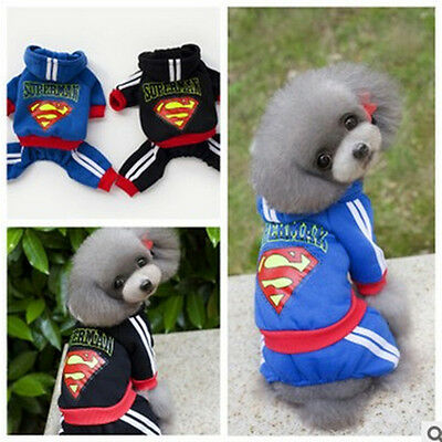 Dog Sweater Superman Jumpsuit Cat Hoodie Pet Puppy Teddy Warm Clothes Apparel - Superman Dog