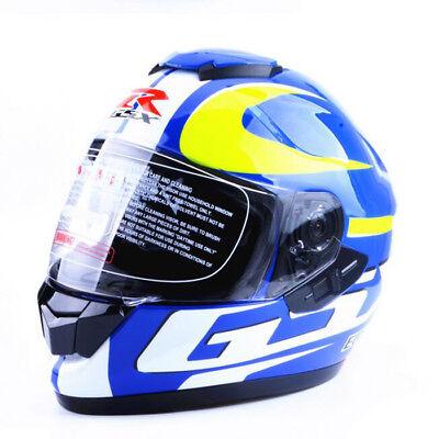 Double Helmet - GSX R Motorcycle Helmet Double Lens Full Face DOT Racing Helmet 21.65-23.23in