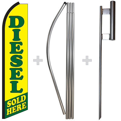 Diesel Sold Here 15 Tall Swooper Flag Pole Kit Feather Super Banner