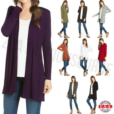 Sleeve Open Front Cardigan - USA Women Long Sleeve Cardigan Open Front Draped Solid Casual Mid Length S ~ XL