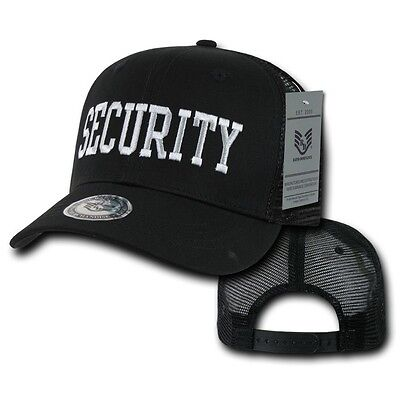Black Security Guard Officer Embroidered Cotton Baseball Trucker Mesh Cap Hat