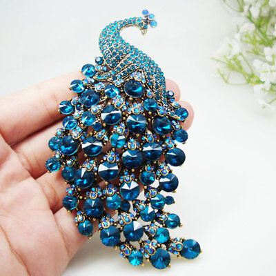 Crystal Peacock Bird Blue Woman Brooch Pin Pendant Gold-tone Party jewelry Gifts