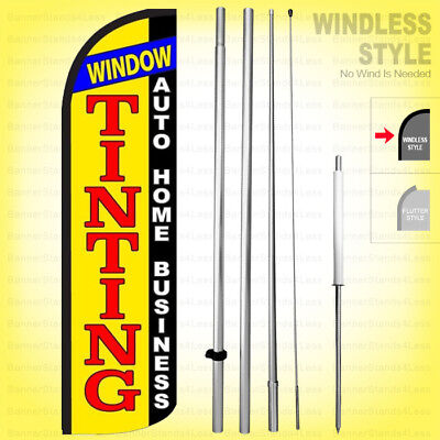 WINDOW TINTING AUTO HOME BUSINESS - Windless Swooper Flag Kit 15' Sign yq-h ()