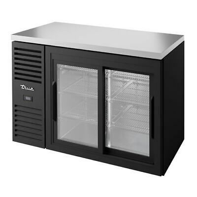 True Tbr48-risz1-l-b-11-1 48 Bar Refrigerator Sliding Glass Doors Black 115v
