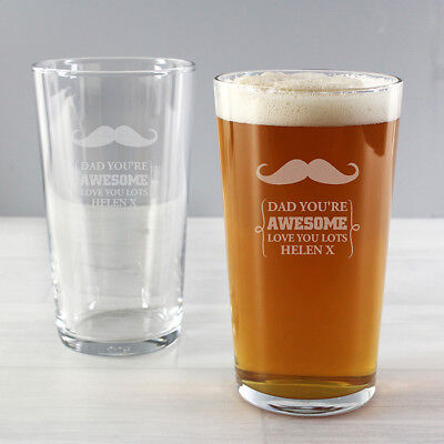Personalised Moustache Pint Glass Gift Ideas for Men Birthday Xmas Father's Day  - Mustache Birthday Ideas