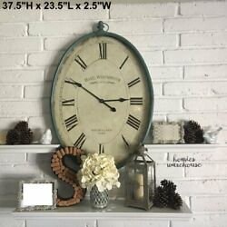 Large Wall Clock Vintage Antique Style Metal Oval Coastal Blue Beach Home Decor