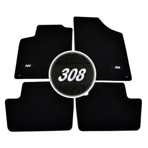 4 tapis sol moquette logo blanc specifique peugeot 308 3 5 sw feline premium ebay. Black Bedroom Furniture Sets. Home Design Ideas