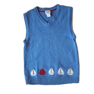 Talbots Kids Boys Vest Sweater 7 Blue Sailboats Red White Cotton