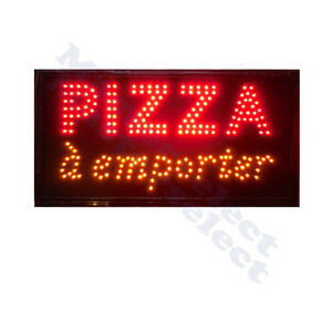 panneau enseigne lumineuse a leds pizza a emporter pour commercant pizzeria ebay. Black Bedroom Furniture Sets. Home Design Ideas