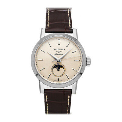 Longines 1832 Moon Phase Auto 40mm Steel Mens Strap Watch L4.826.4.92.2