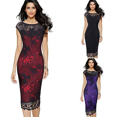 Damen Abendkleid Spitzenkleider Party Ballkleid Knielang Pencil Kleid Gr.36-50 online kaufen