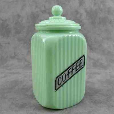 JADEITE GREEN GLASS TALL SQ COFFEE CANISTER JAR RIBBED ARCH PANEL ~LABEL DESIGN~