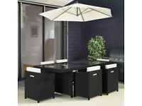 Black Rattan Garden Furniture - Garden Table and 6 Chairs