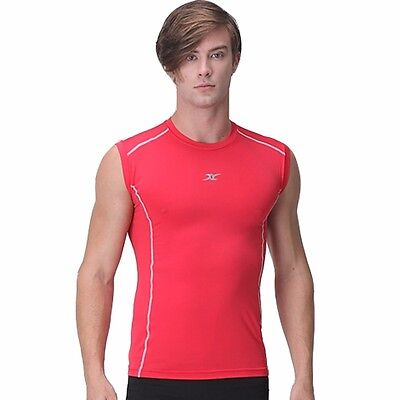 M RED Mens Muscle Compression Shirts Top BASELAYER Slimfit Armour Tight