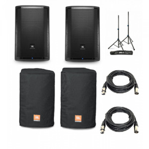 (2) JBL PRX812W PACKAGE + COVERS + CABLE + STANDS+Mixer