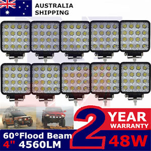 10X 48W Square LED Work Light Flood Lamp For Offroad Truck Tractor Boat Bar 12v