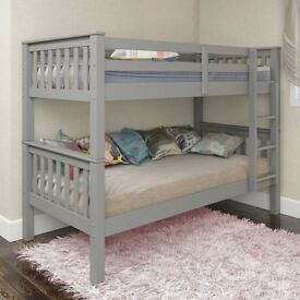 🌷💚🌷SAME DAY FAST DELIVERY 🌷💚🌷BRAND NEW SINGLE WHITE / GREY & OAK WOODEN BUNK BED