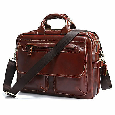 Excellent Cow Leather Men's Briefcase Laptop Handbag Business Messenger Tote Bag