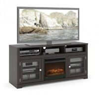 """New Neuf TV Stand Console Meuble Television Noir 60""""Avec Foyer"""