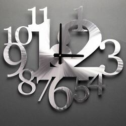 Modern metal wall clock - metal art work - Silver art- Beautiful creation wall