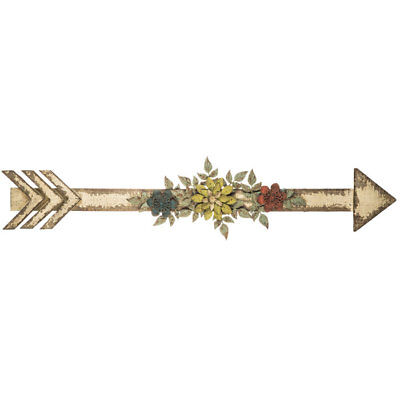 Sculptures White Flower-Embellished Arrow Wall Decor.