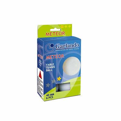 Garlando Confezione di 6 Palline Bianche 1 Stella Meteor 40 mm Ping Pong