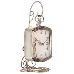 Creative Co-op Pewter Table Clock with Metal Pocket Watch Stand