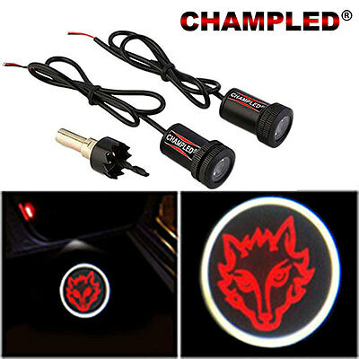 Champled For Fire Wolf Door Projector Logo Shadow Car Tuning Lights Emblem