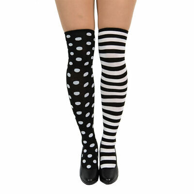 Strümpfe schwarz weiß Punkte & Streifen, Harlekinkostüm Zubehör - Harlekin Kostüm Zubehör