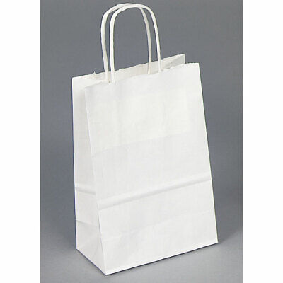 50pc White Bags White Kraft Bags Shopping Bag Kraft Bag Retailer Store Bag 5x3x8
