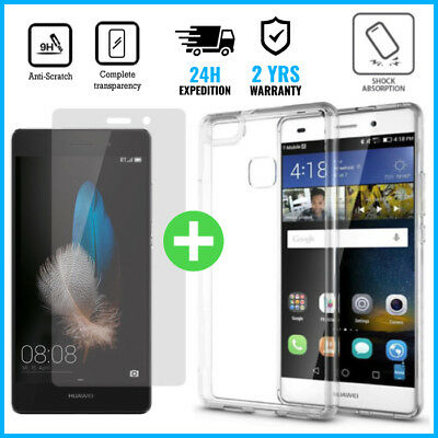 Transparent Case Cover+Screen Protector Tempered Glass For Huawei P10