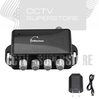 TV ANTENNA Signal Booster Amplifier Splitter HDTV CABLE 4 PORT Audio Video (Hdtv Cable Splitter)