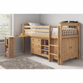 Oxford Pine Mid Sleeper Bed with Pull Out Desk - Ladder fixes to either side!