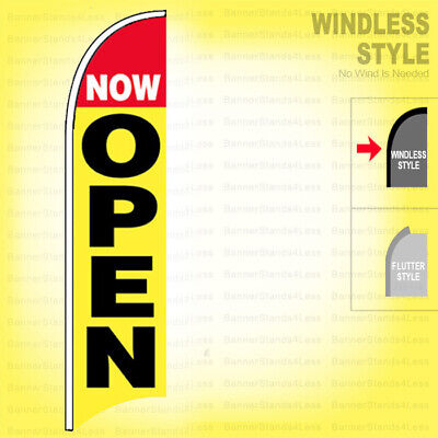 Now Open - Windless Swooper Flag 2.5x11.5 Ft Feather Banner Sign Yb