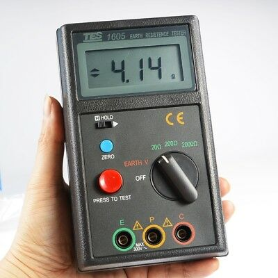 Tes-1605 Digital Earth Voltage Resistance Tester Meter 0199.9v01999