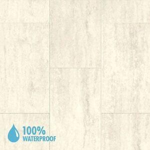 Aqua Step Travertine White Mini Tile Waterproof Laminate Flooring