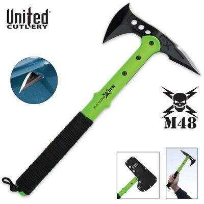UNITED CUTLERY M48 Apocalypse Tactical SURVIVAL  Tomahawk Toxic Green & Sheath for sale  New York