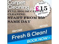 £15 per room full house carpet cleaner start from £50 same day